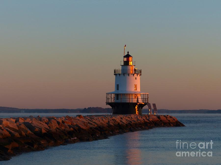 Spring Point Photograph - Spring Point Ledge Lighthouse Sunrise In South Portland Maine by Christine Stack