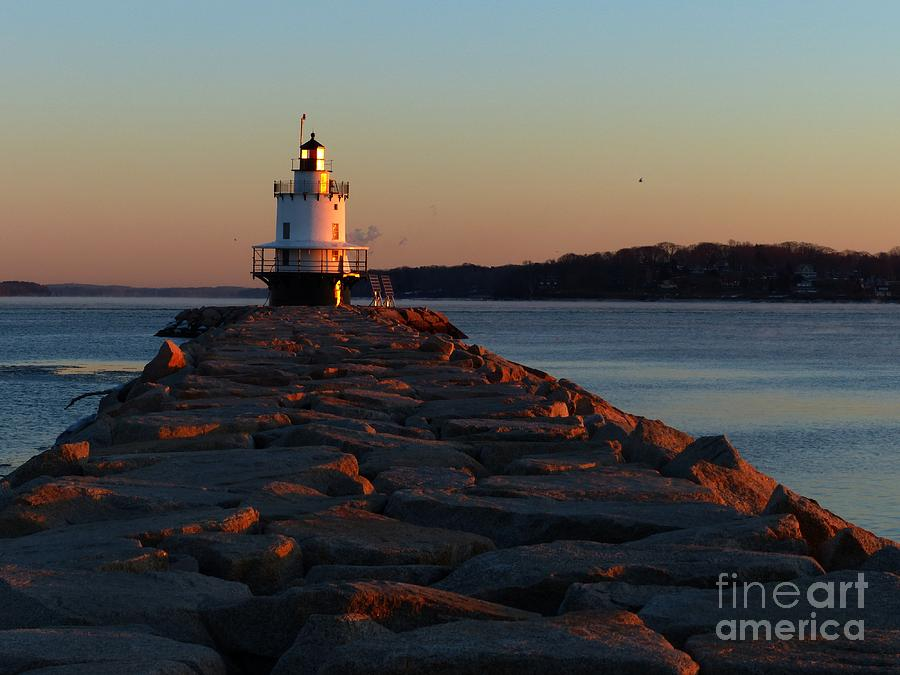 Lighthouse Photograph - Spring Point Sunrise by Christine Stack
