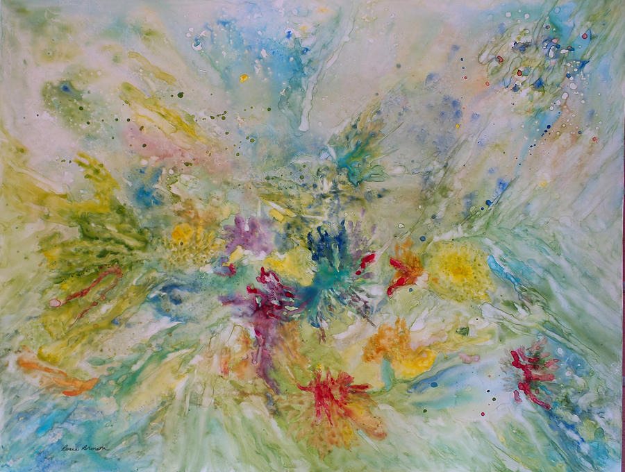 Abstract Painting - Spring Rain by Rosie Brown