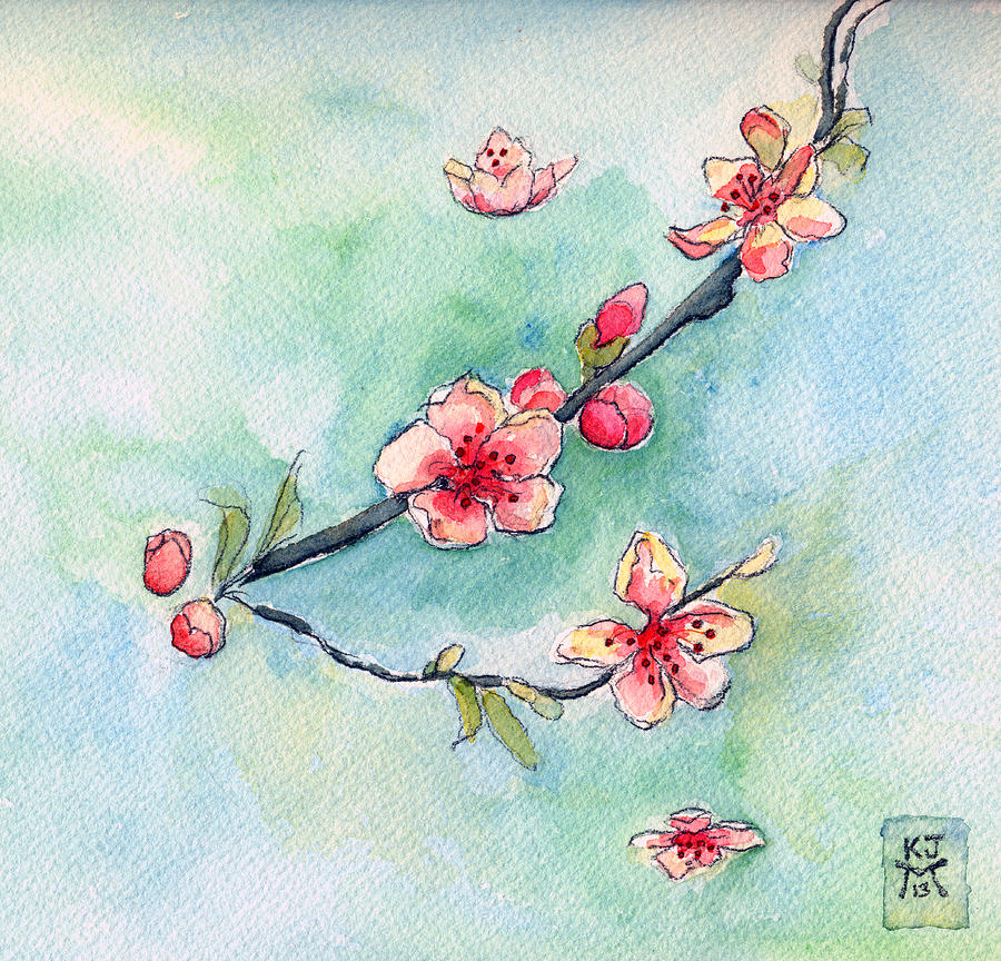 Peach Painting - Spring Relief by Katherine Miller