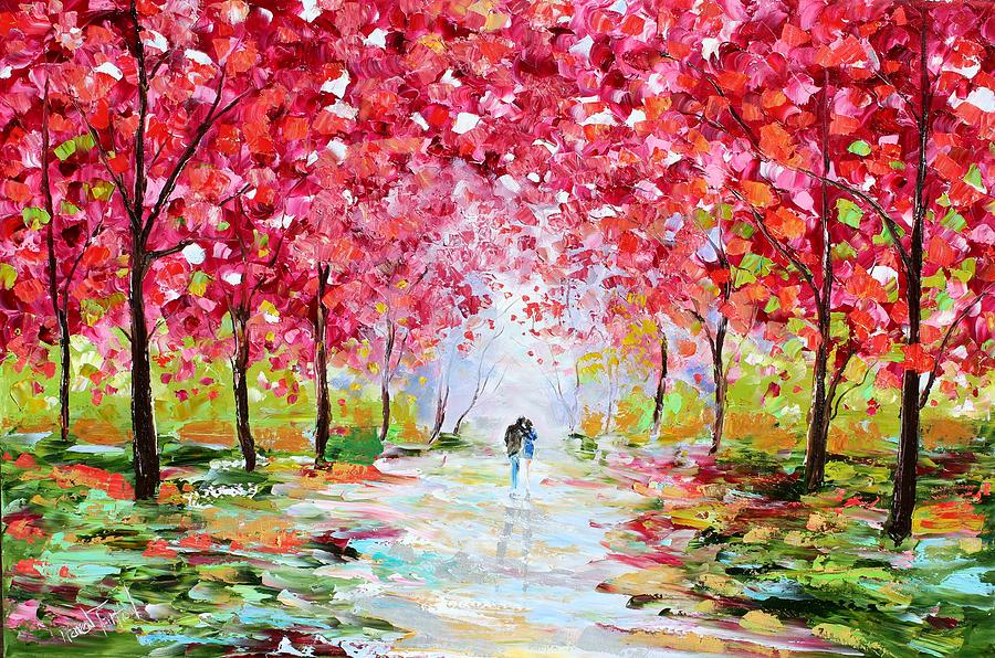 Spring romance painting by karen tarlton for Spring canvas paintings