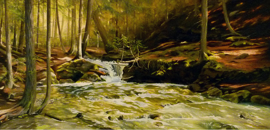 Waterscape Painting - Spring Rush by Linda Hunt