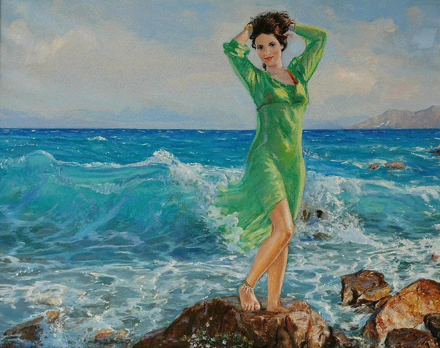 Seascape Painting - Spring by Sefedin Stafa