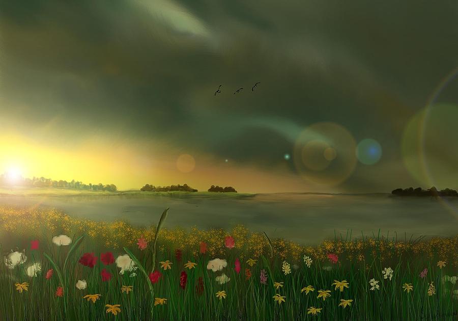 Landscape Digital Art - Spring Serenity by Steve Hermann