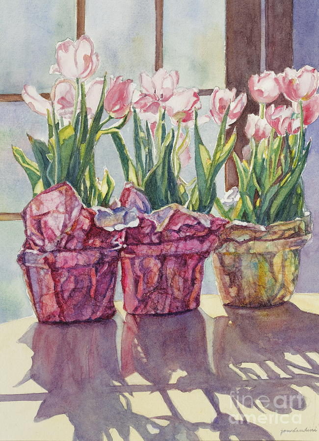 Tulips In Pots Painting - Spring Shadows by Jan Landini