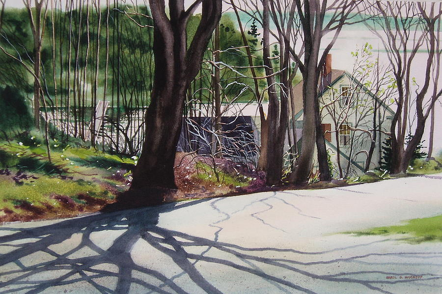 Trees Painting - Spring Shadows by Karol Wyckoff