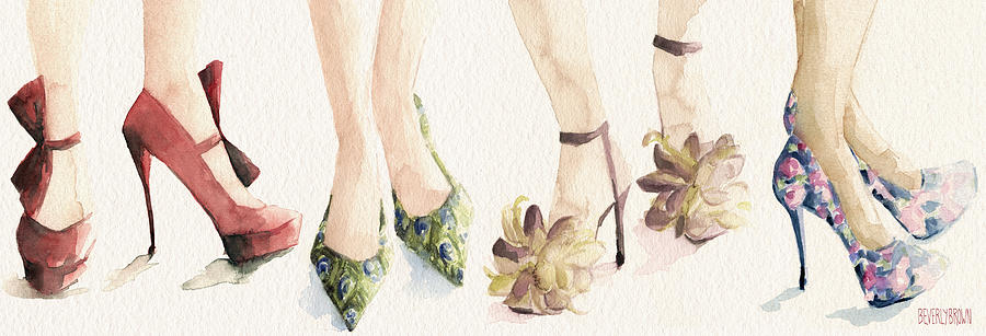 Fashion Painting - Spring Shoes Watercolor Fashion Illustration Art Print by Beverly Brown
