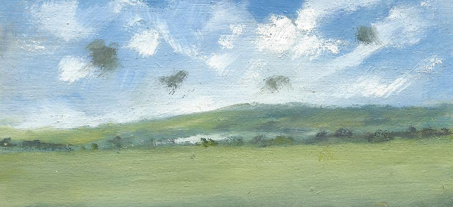 Landscape Paintings Painting - Spring Sky Bembridge Down by Alan Daysh