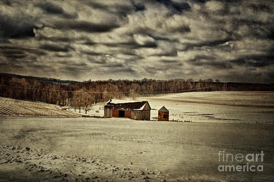 Barn Photograph - Spring Snows by Lois Bryan
