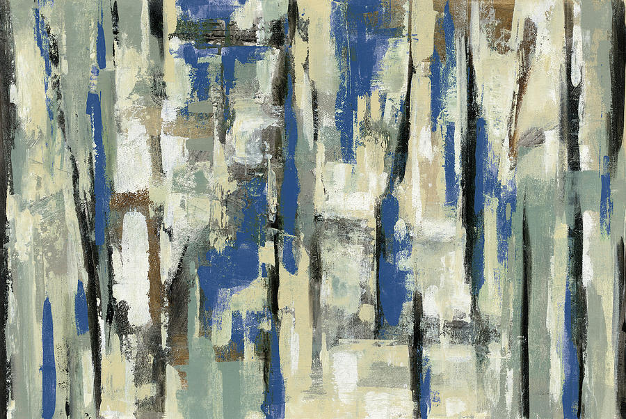 Abstract Painting - Spring Stripes Blue by Silvia Vassileva
