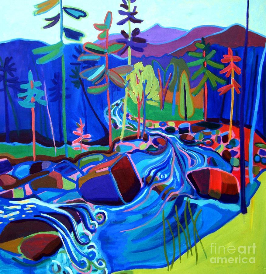 Landscape Painting - Spring Thaw Wildcat River Jackson NH by Debra Bretton Robinson