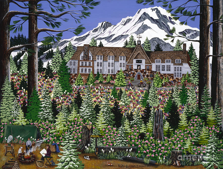 Timberline Lodge Painting - Spring Time Timberline by Jennifer Lake
