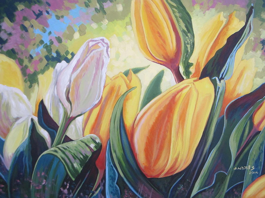 Spring Tulips Painting by Andrei Attila Mezei