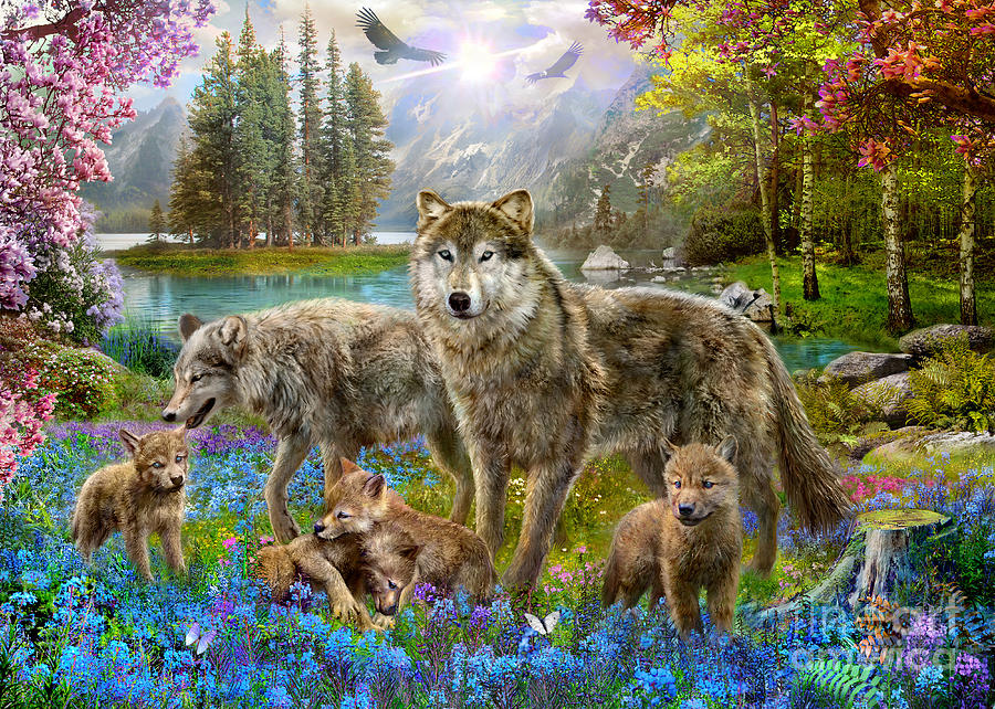 Spring Wolf Family Digital Art By Jan Patrik Krasny