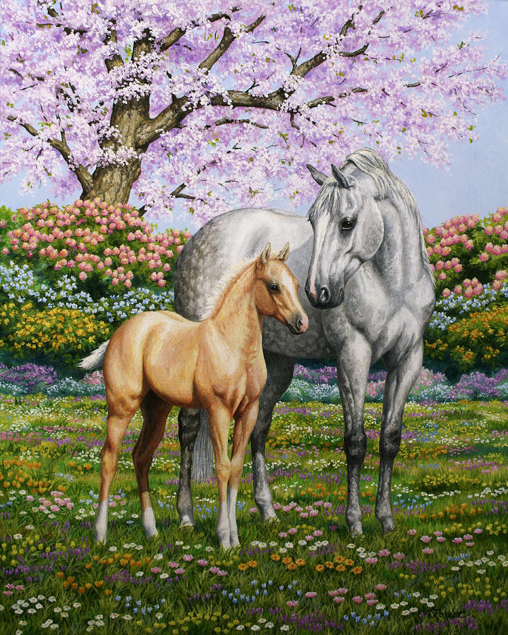 Horse Painting - Springs Gift - Mare And Foal by Crista Forest