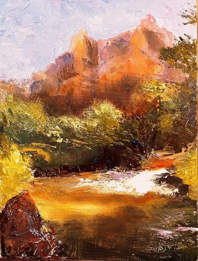 Landscape Painting - Springs In The Desert by Gail Kirtz