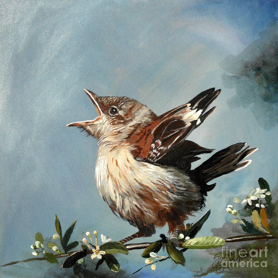 Bird Painting - Springs Promise - Mockingbird Baby by Suzanne Schaefer