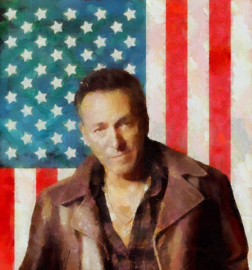 Icon Digital Art - Springsteen American Icon by Dan Sproul