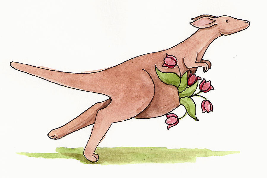 Animal Painting - Springtime Kangaroo by Christy Beckwith
