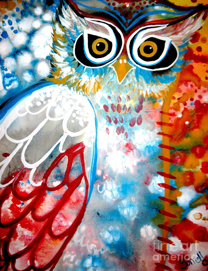Owl Painting - Sprinkles by Amy Sorrell