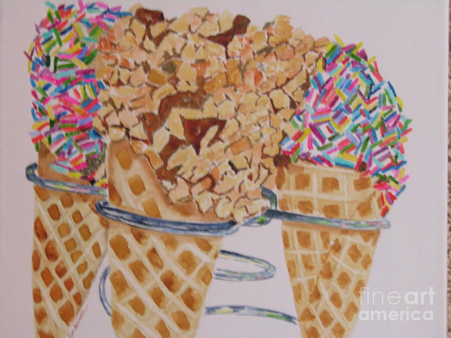 Ice Cream Painting - Sprinkles by Peggy Dickerson