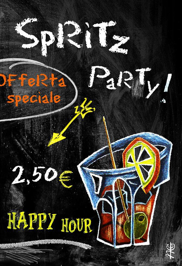 Spritz Mixed Media - Spritz Party Happy Hour - Aperitif Venice Italy by Arte Venezia