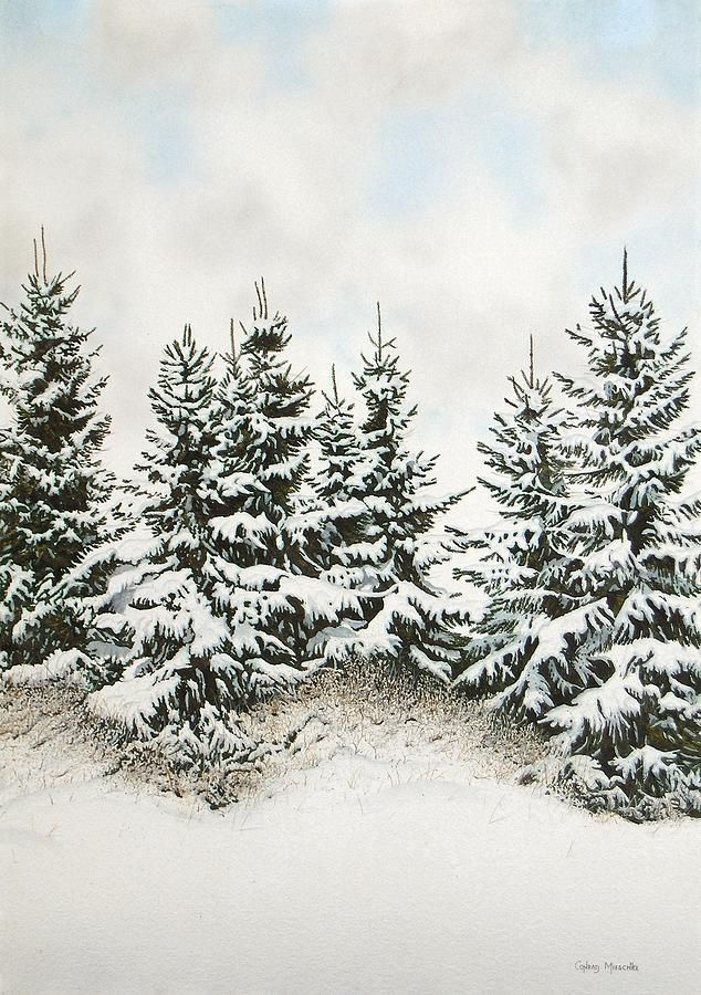 Landscape Painting - Spruce-trees In Winter by Conrad Mieschke