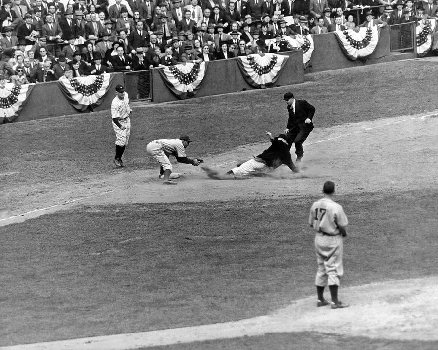 1941 Photograph - Spud Chandler Is Out At Third In The Second Game Of The 1941 Wor by Underwood Archives