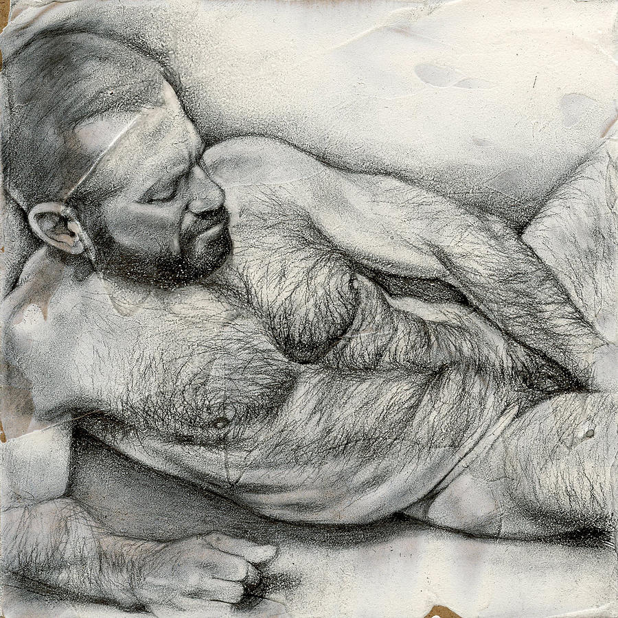 Male Drawing - Square Composition 4 by Chris Lopez