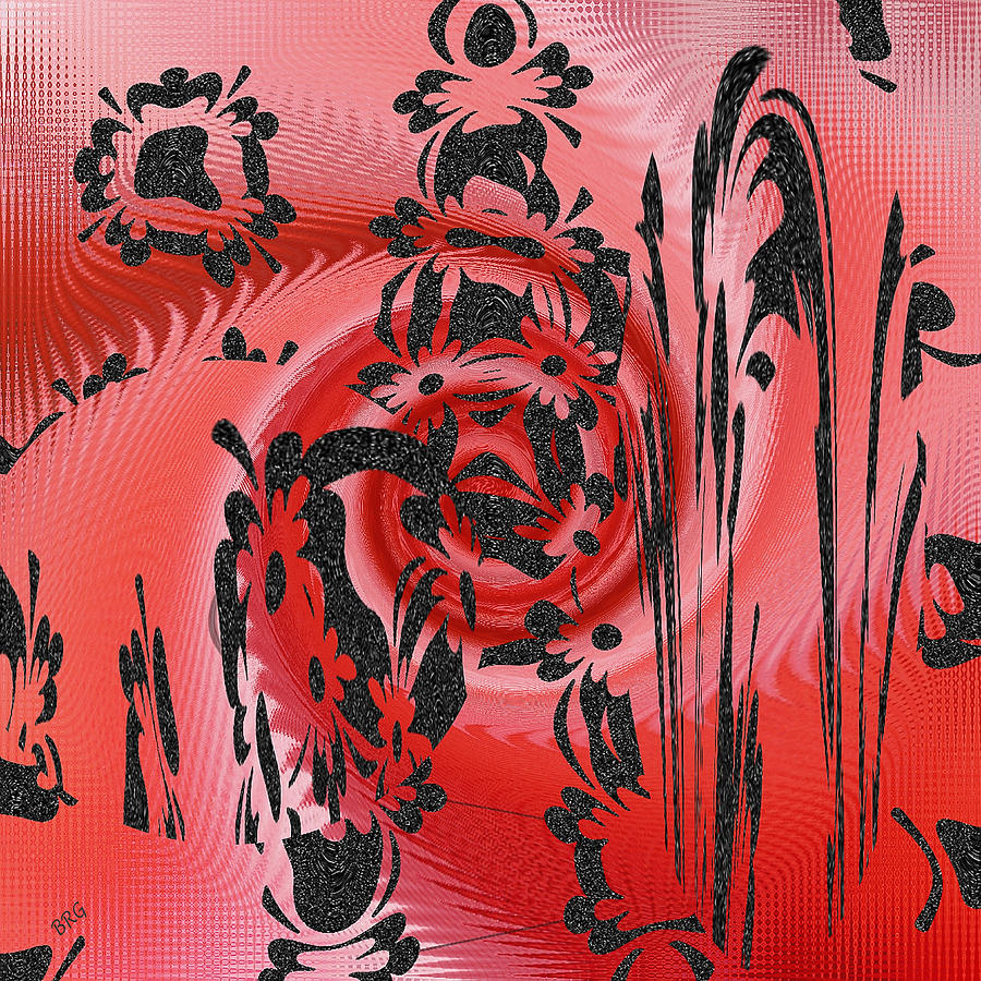 Whimsical Digital Art - Square In Red With Black Drawing No 2 by Ben and Raisa Gertsberg