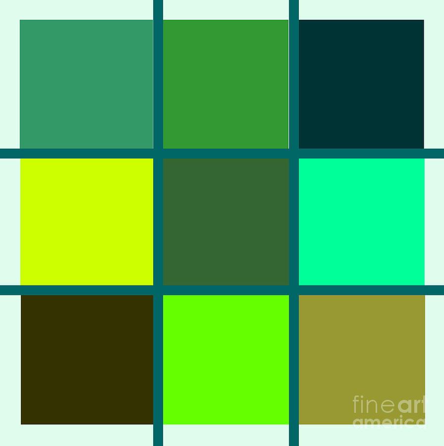 Squares - Green Digital Art