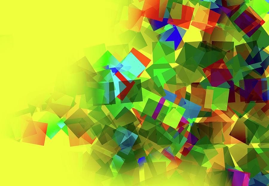 Squares Creative Abstract Design Digital Art by Raj Kamal