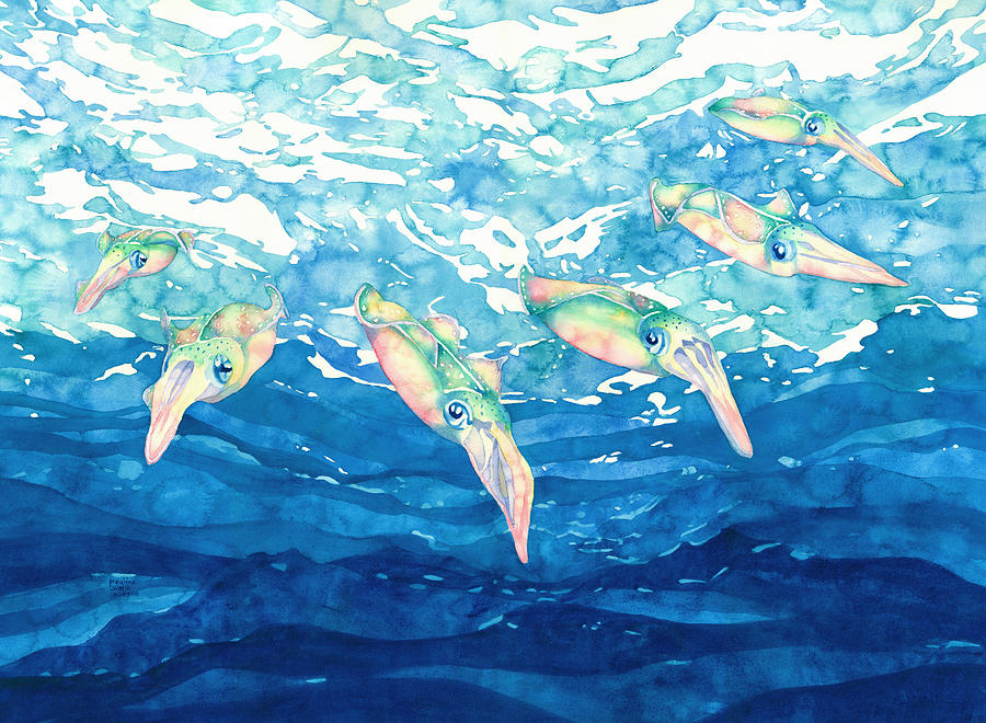Squid Painting - Squid Ballet by Pauline Walsh Jacobson