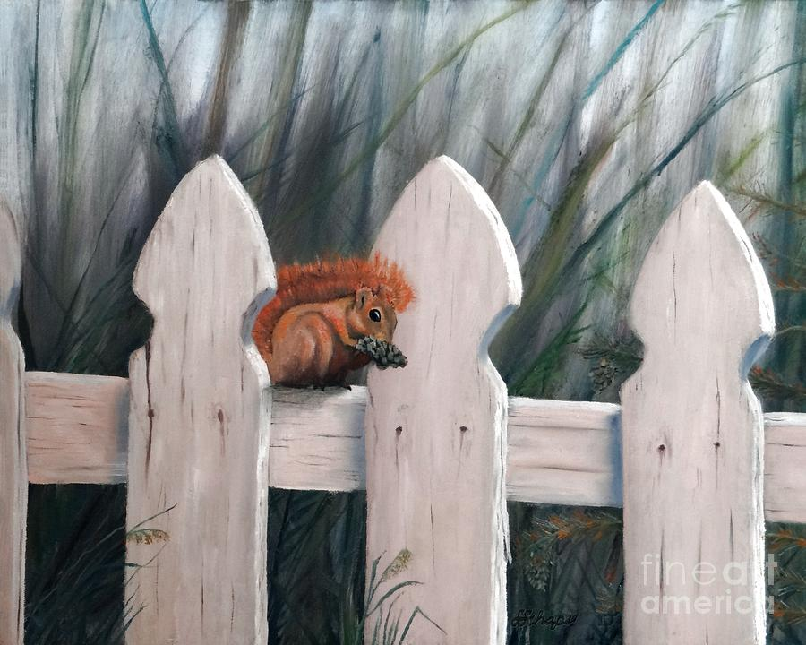 Squirrel Painting - Squirrel Dining On Pine by Stephen Schaps