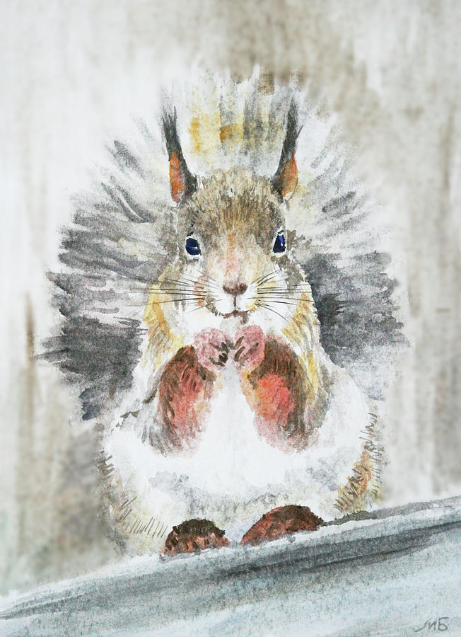 Squirrel Painting - Squirrel by Masha Batkova