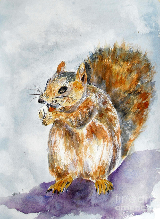 Squirrel Painting - Squirrel With Nut by Vicki  Housel