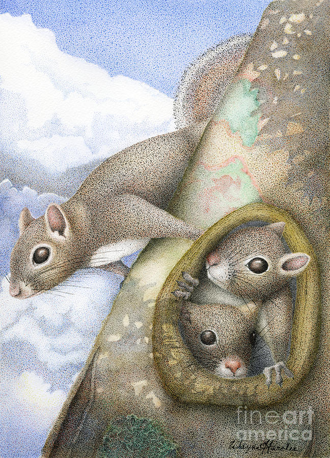 Squirrels Painting - Squirrels by Wayne Hardee
