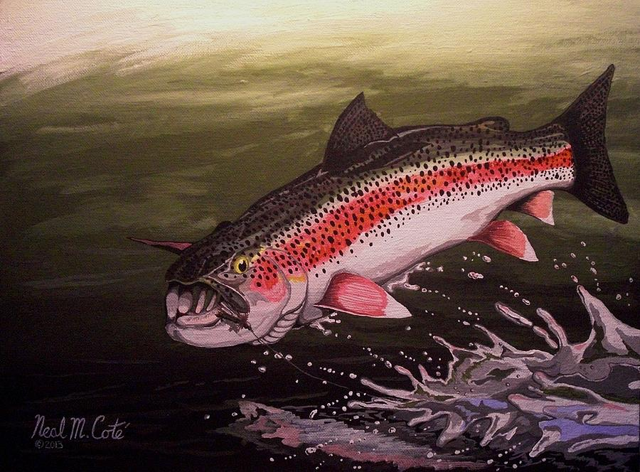 Rainbow Trout Painting - Squwalla Surprise by Neal Cote