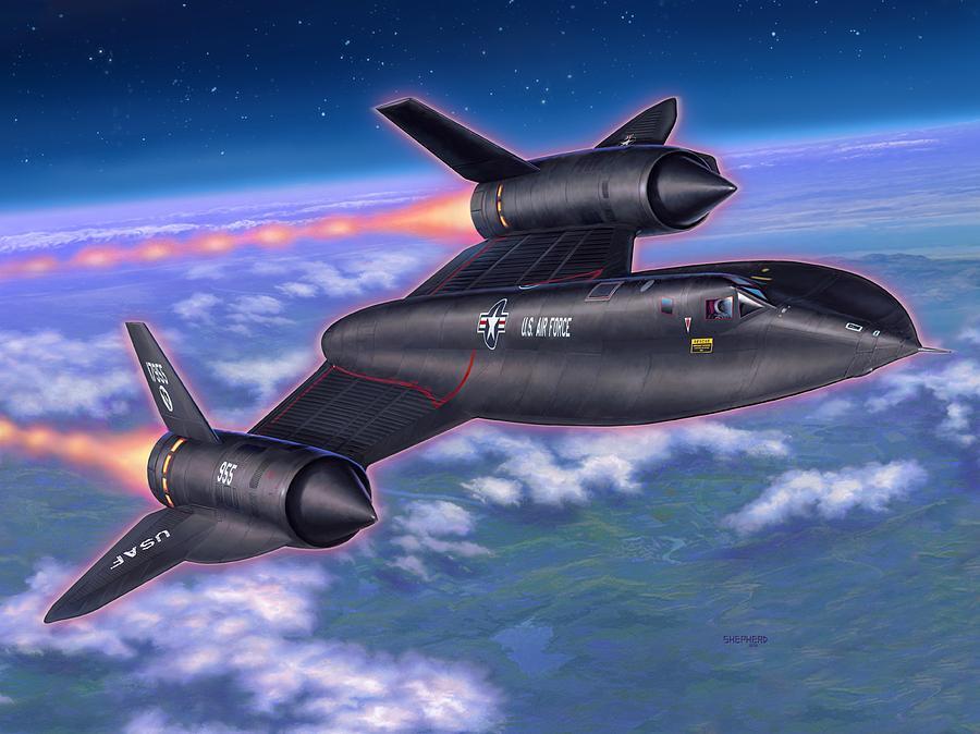 Sr-71 Painting - Sr-71 Blackbird by Stu Shepherd