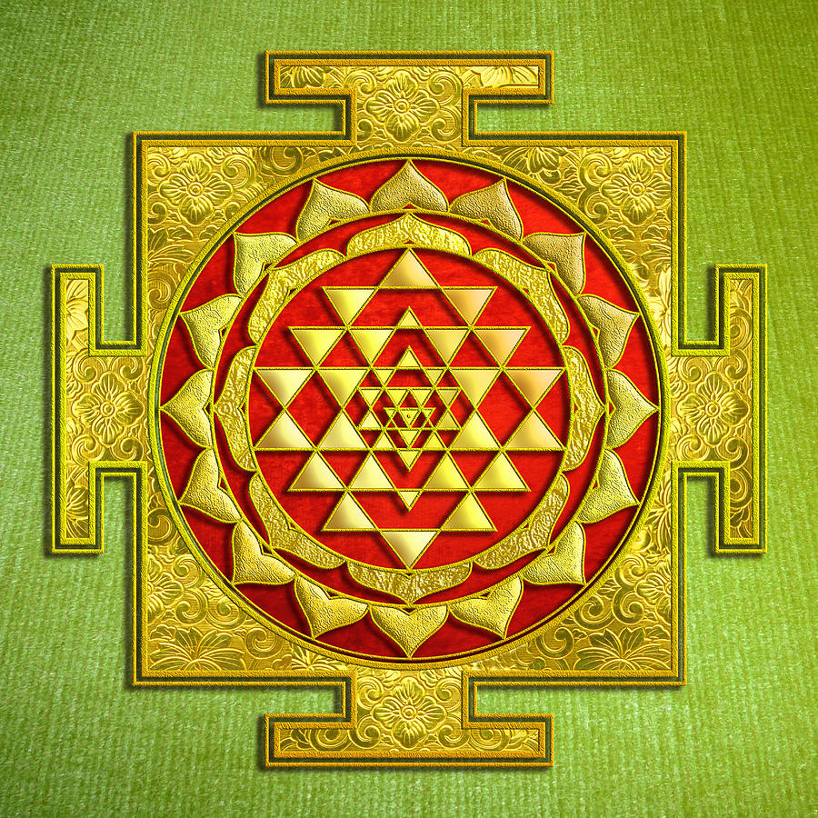 Mandala Mixed Media - Sri Gold Yantra by Lila Shravani