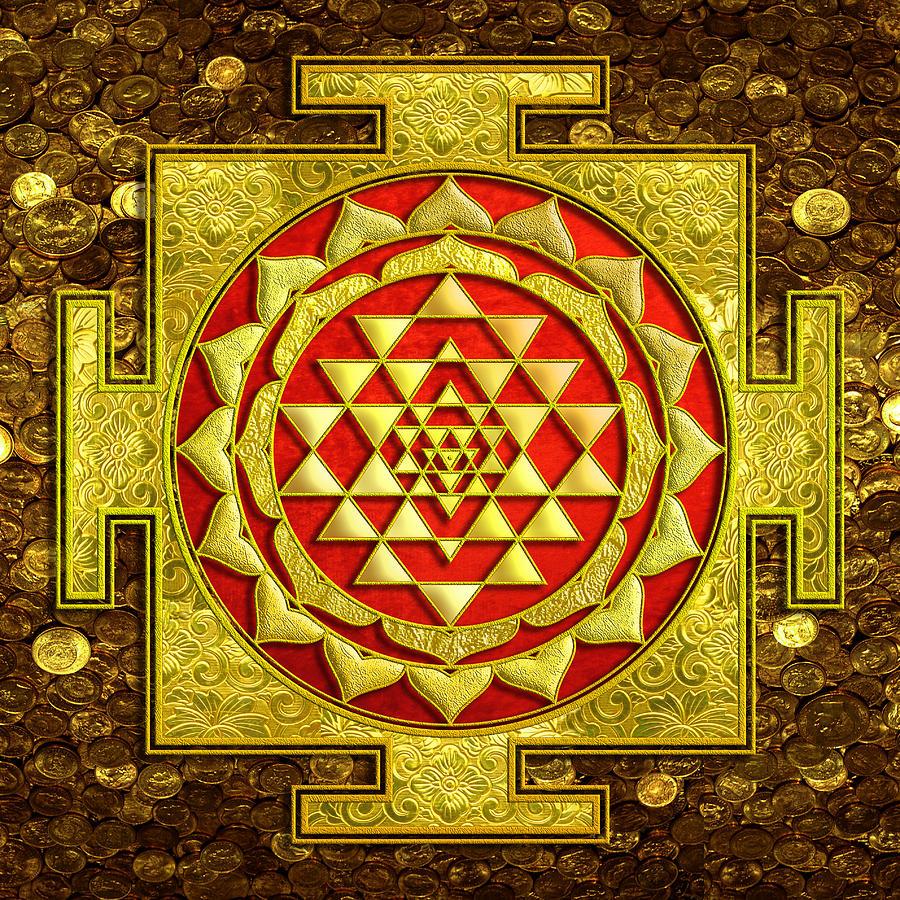 Mandala Painting - Sri Lakshmi Yantra by Lila Shravani