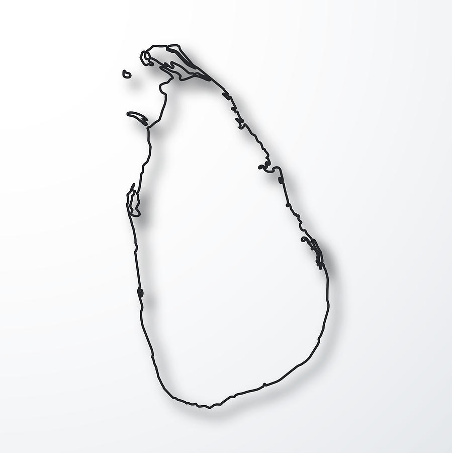 Sri Lanka Map - Black Outline With Shadow On White Background by Bgblue