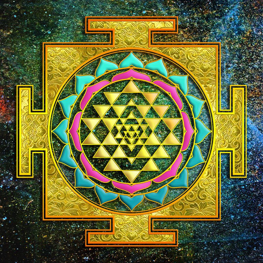 Mandala Mixed Media - Sri Yantra Gold And Stars by Lila Shravani