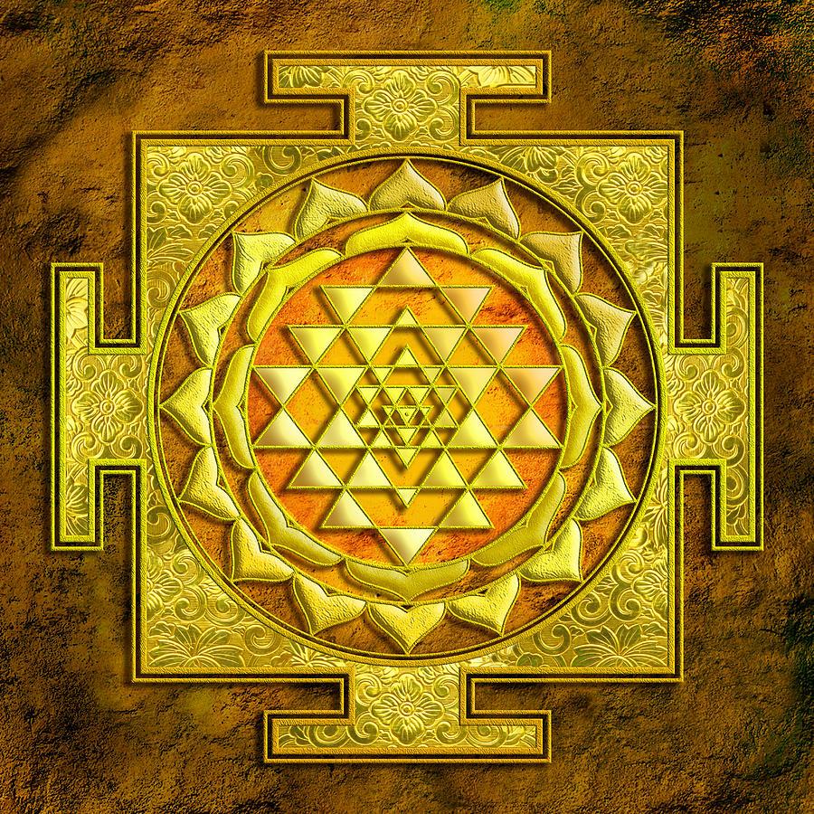 Sri Yantra Gold Stone Mixed Media by Lila Shravani