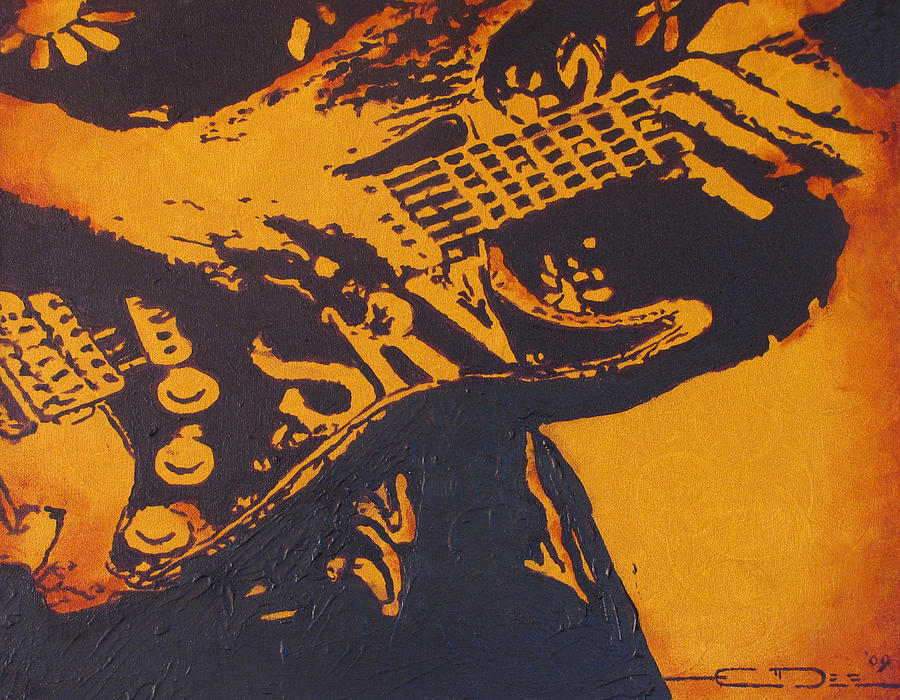 Srv Painting - Srv  Number One Fender Stratocaster by Eric Dee