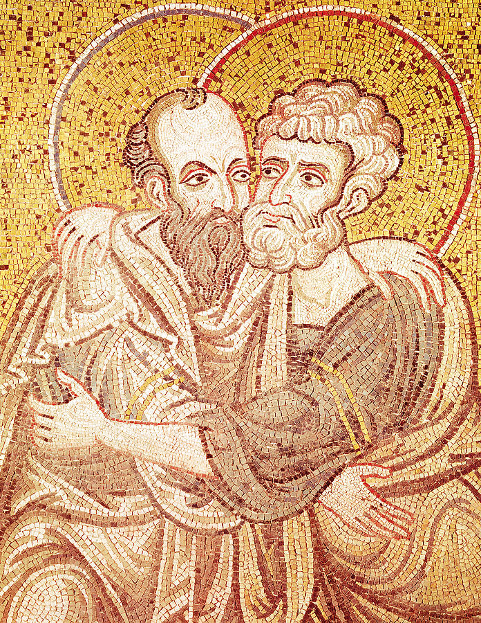 Male Tapestry - Textile - Saints Peter And Paul Embracing by Byzantine School