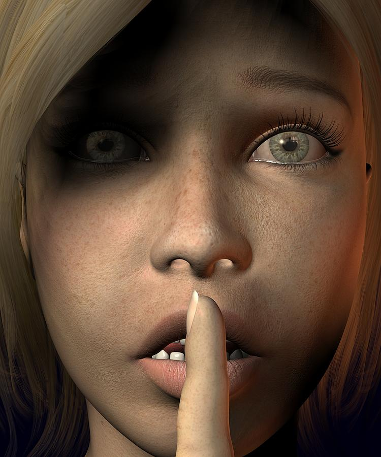 3d Digital Art - Sshh Nicky by Teo Spiller