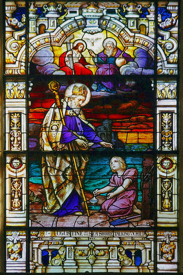 Confessions Photograph - St Augustine By The Sea Shore Talking To A Child by Christine Till