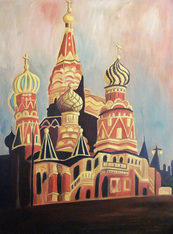 Original Painting - St Basils Cathedral Moscow by Suzanne  Marie Leclair
