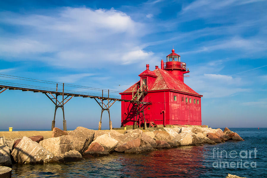 Lighthouse Photograph - St Bay Lake Michigan Lighthouse by Nikki Vig